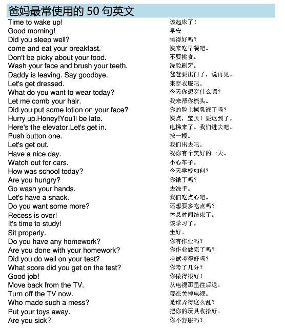 美国家庭常用亲子英语8000句汇总网盘分享!