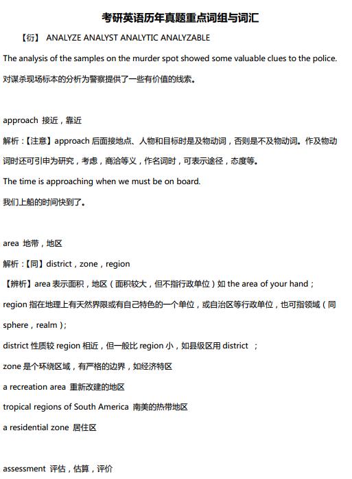 考研英语历年真题重点词汇与词组PDF下载资源大全