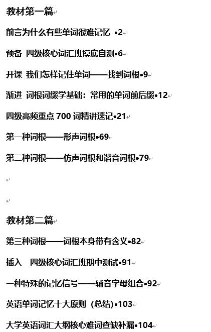 刘一男四级核心词汇突破班十节课讲义!!word下载系列下载!