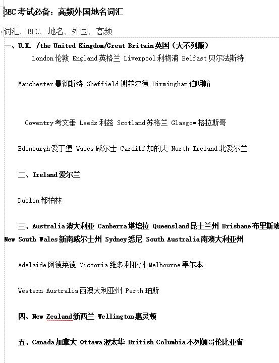 BEC商务英语考试必备高频词汇:外国地名系列分享!