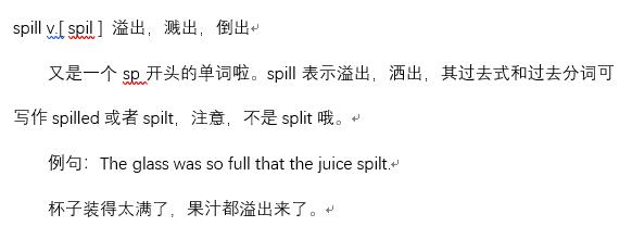 2019年12月英语四级高频词汇详解:spill