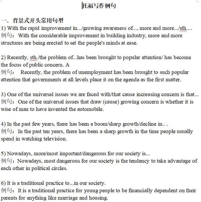 托福综合写作模板+写作经典例句网盘下载pdf分享!
