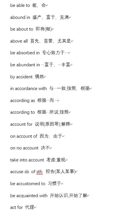 2019年12月英语六级单词短语汇总(1)免费获取。