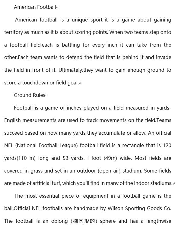 2019年12月英语六级阅读理解100篇:美国橄榄球
