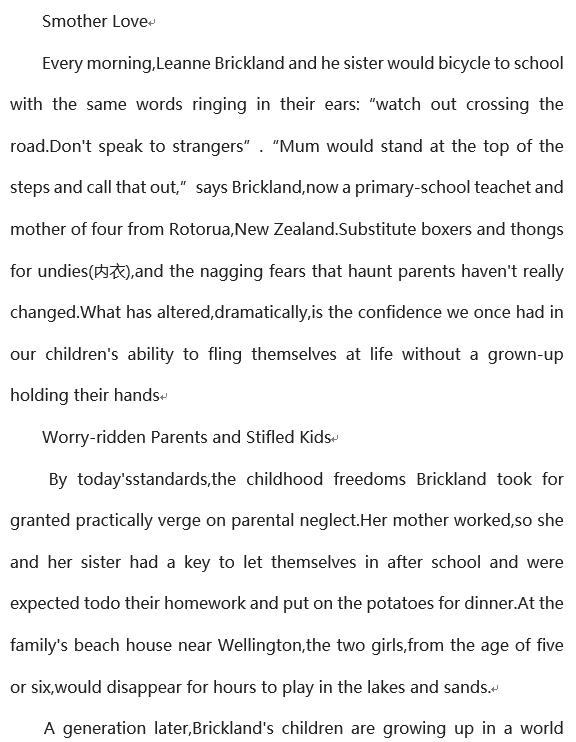 2019年12月英语六级阅读理解100篇:令人窒息的爱网盘自取。